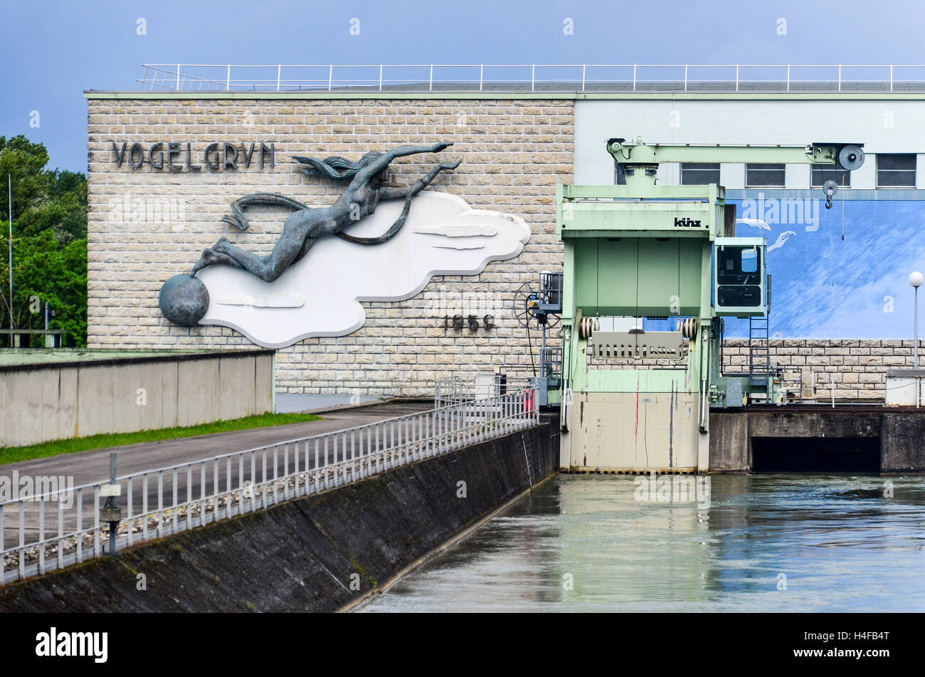 Vogelgrun hydro power plant on the Rhine river, between France and Germany - Stock Image