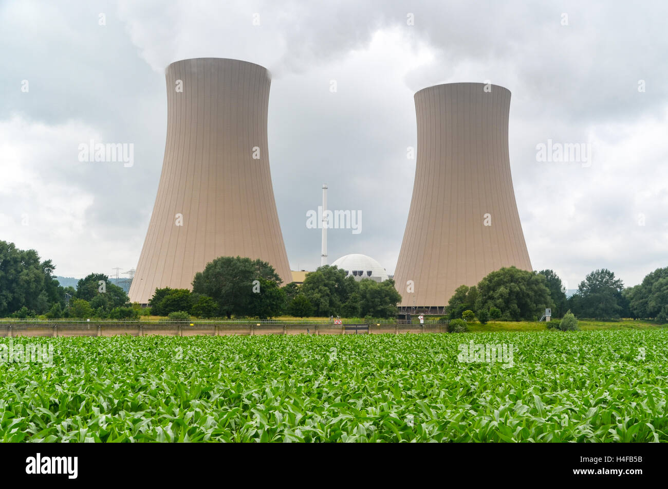 Cooling towers of the Grohnde nuclear powerplant,Germany - Stock Image