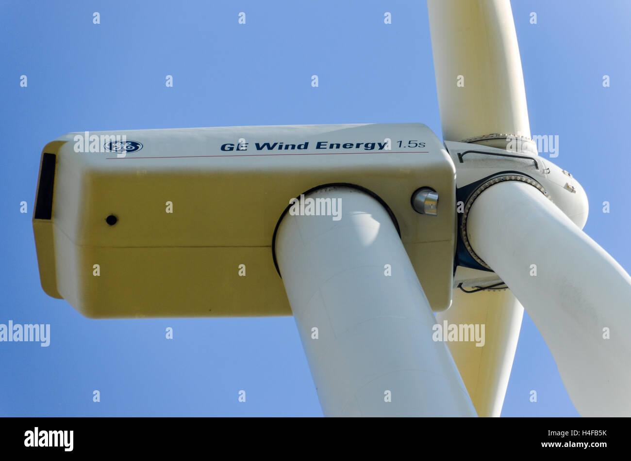GE Wind Energy 1.5 MW turbine - Stock Image
