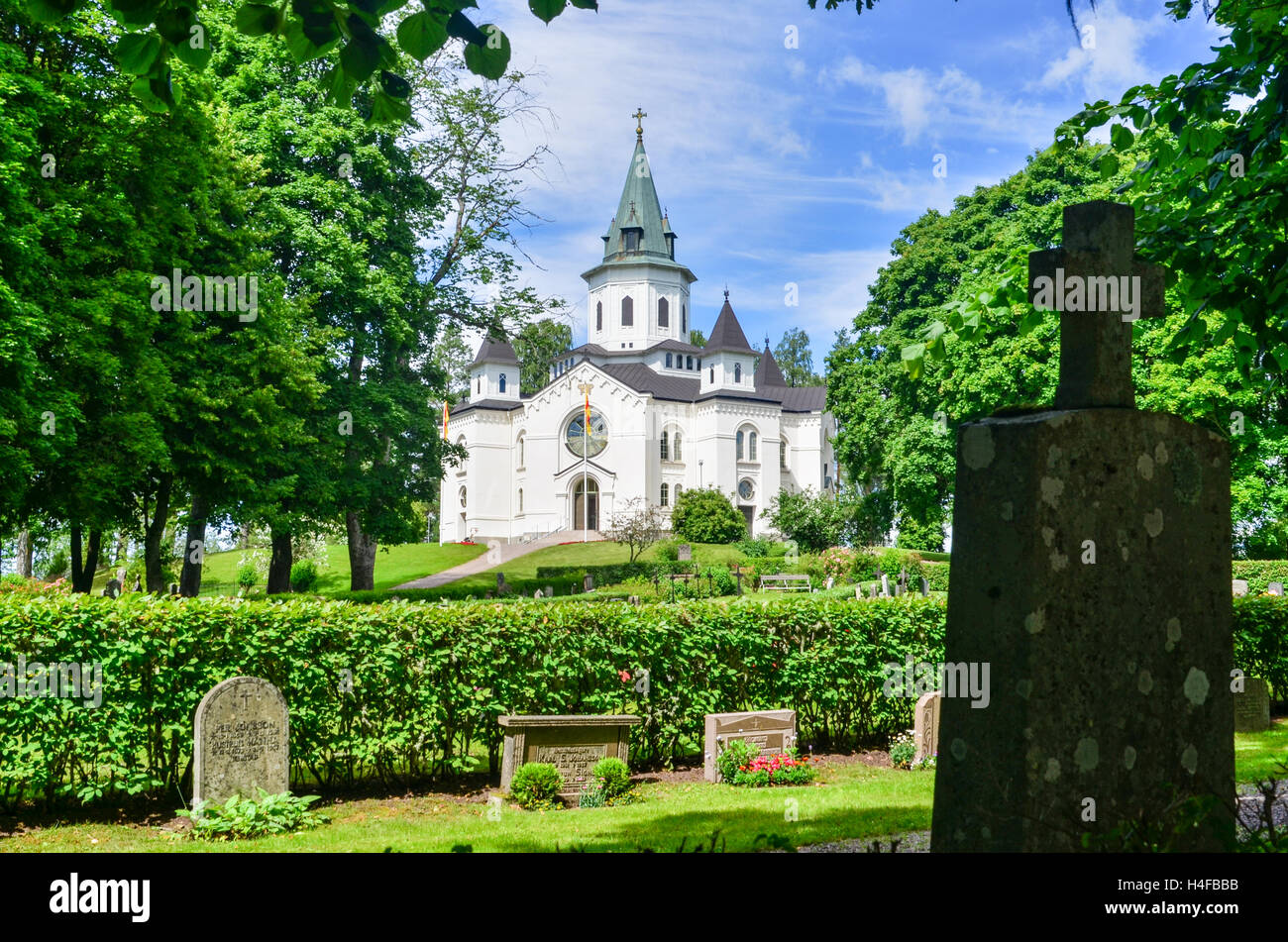 Church and cemetery in Sillerud, Sweden Stock Photo