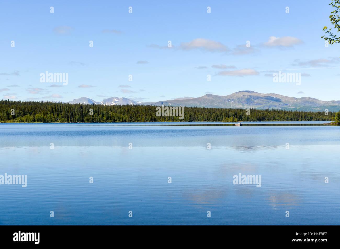 View on Marsfjällen mountain range in northern Sweden - Stock Image