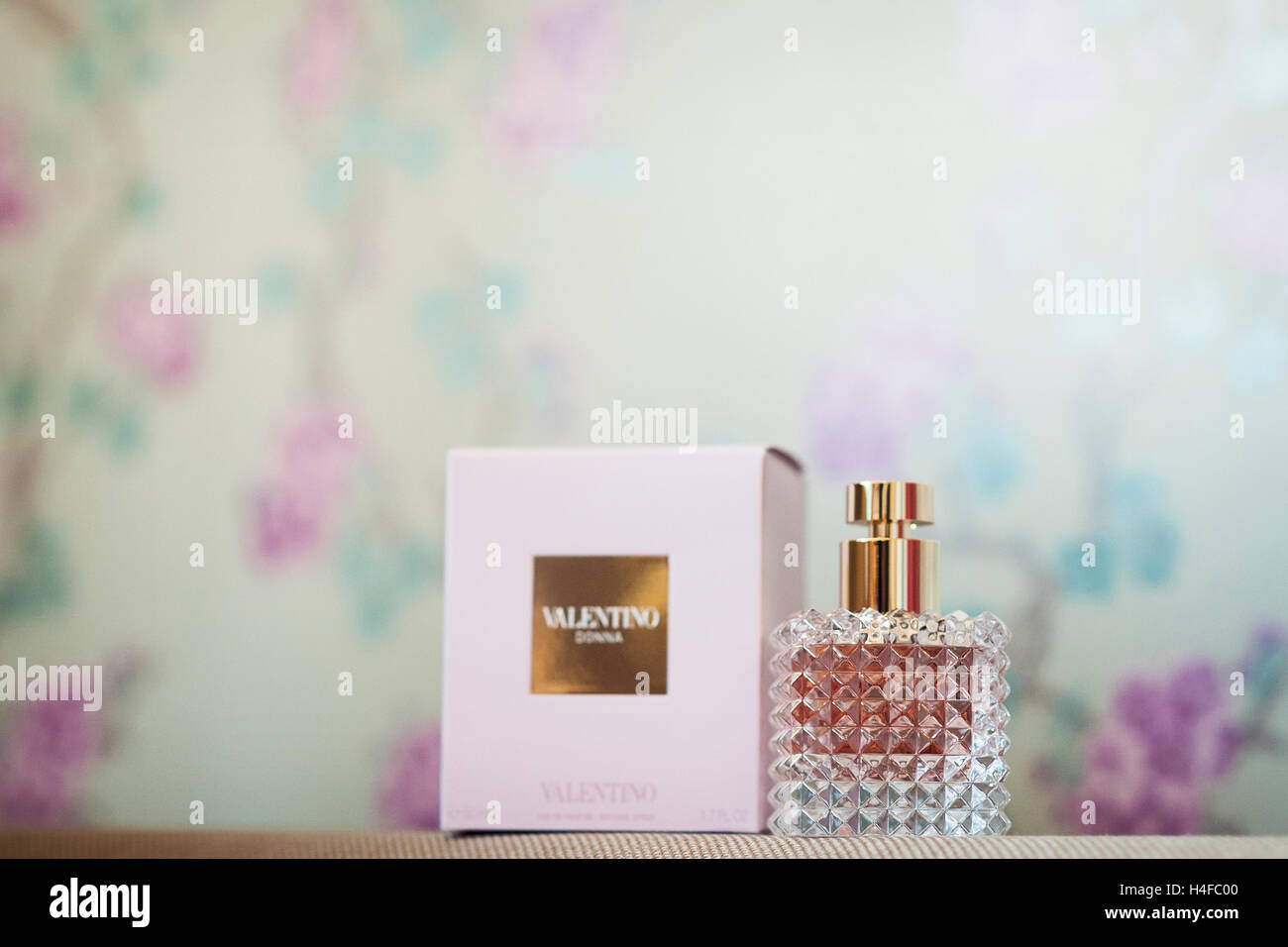 valentino perfume bottle with box - Stock Image