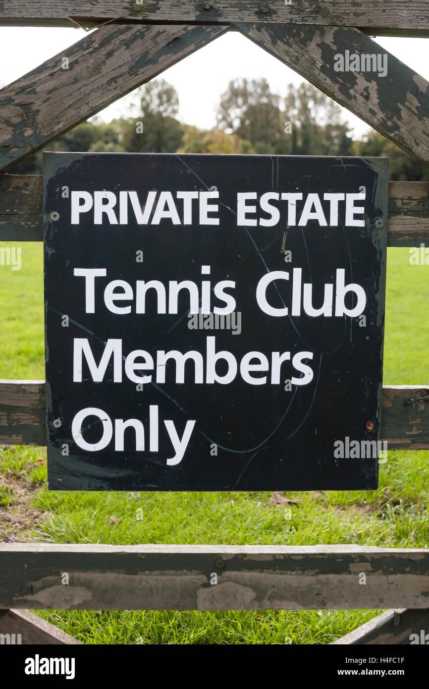 tennis club members sign - Stock Image