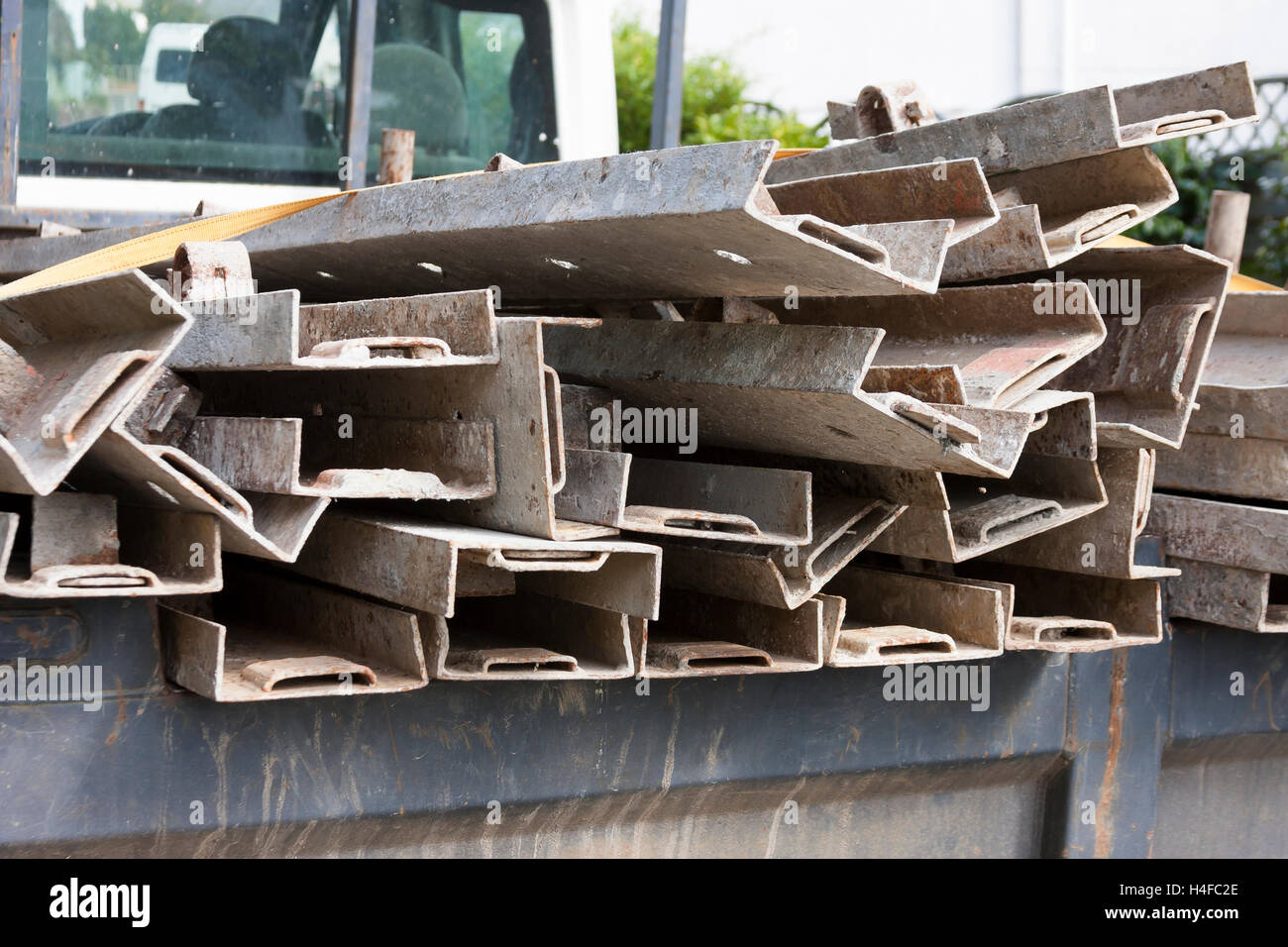 builders steel supports on truck - Stock Image