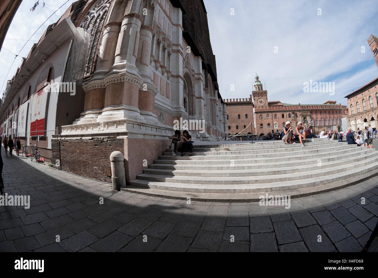Unusual angle  view on City Hall, Piazza Maggiore from steps, Bologna, Italy, Europe - Stock Image