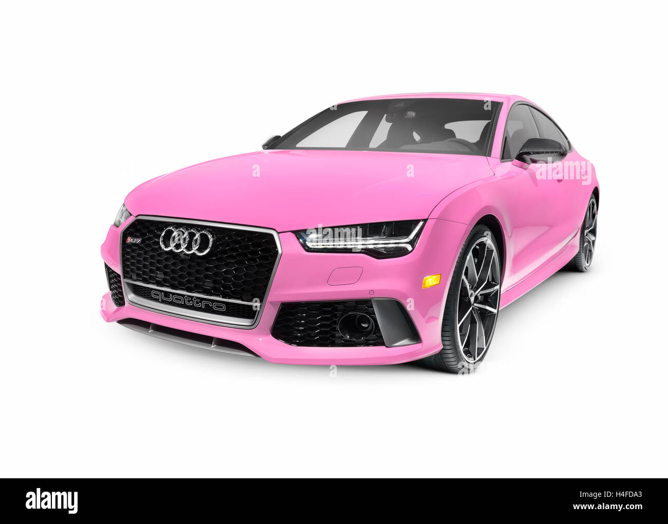 Bright pink 2016 Audi RS 7 Prestige Quattro Sedan luxury car isolated on white background with clipping path Stock Photo