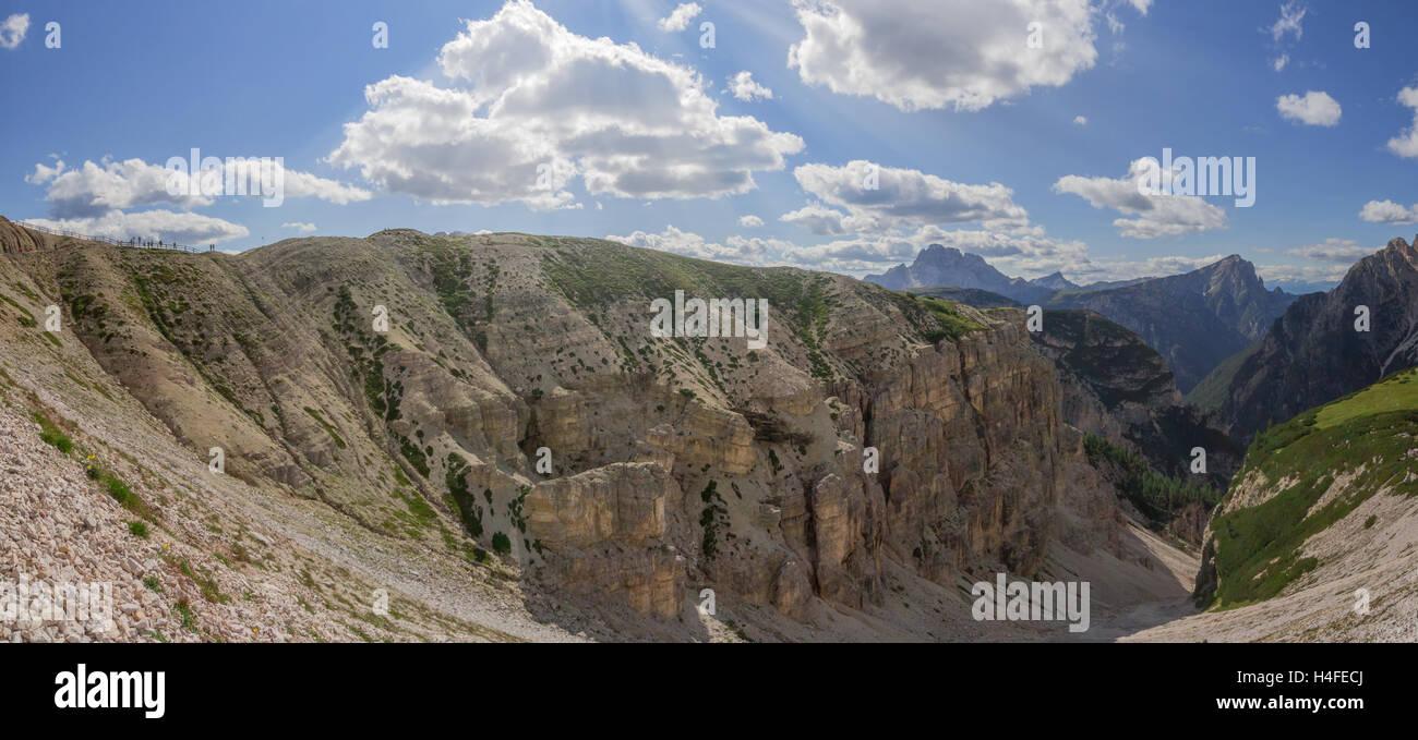 Panoramic Mountain Cliff To The Passo Pordoi Gap In The Italic Stock