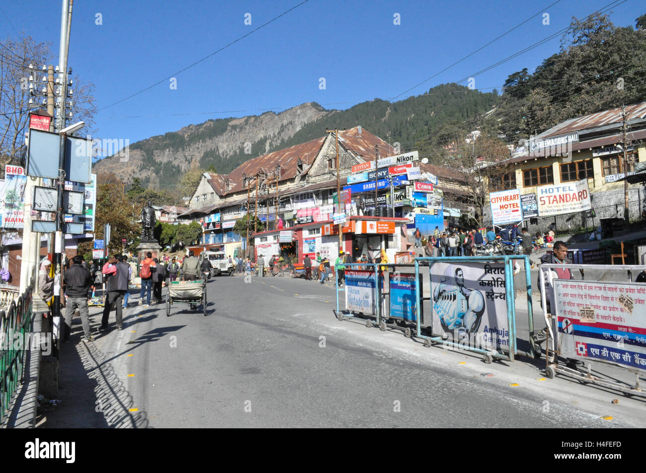 Nainital, Uttarakhand, India- December 5, 2015:  Market place at Riksha Stand, Mallital, Nainital, Uttarakhand, - Stock Image