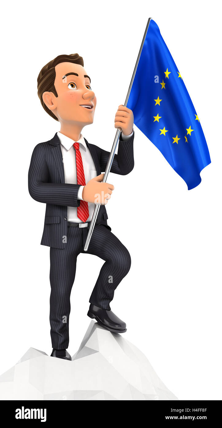 3d businessman holding european flag on top of mountain, illustration with isolated white background Stock Photo