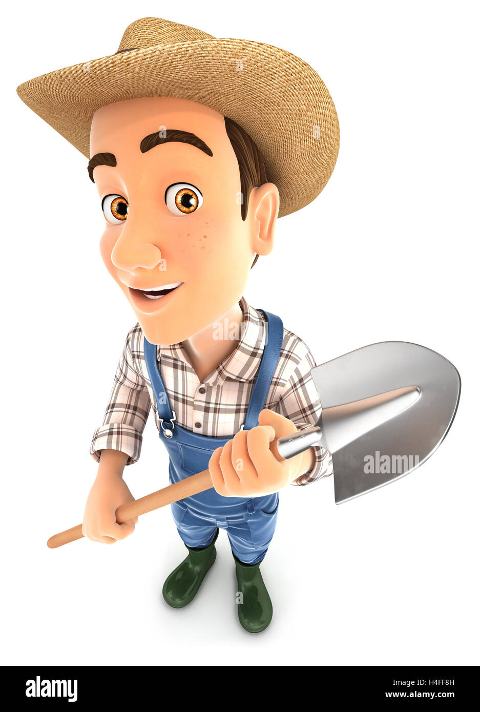 3d farmer holding a shovel, illustration with isolated white background Stock Photo