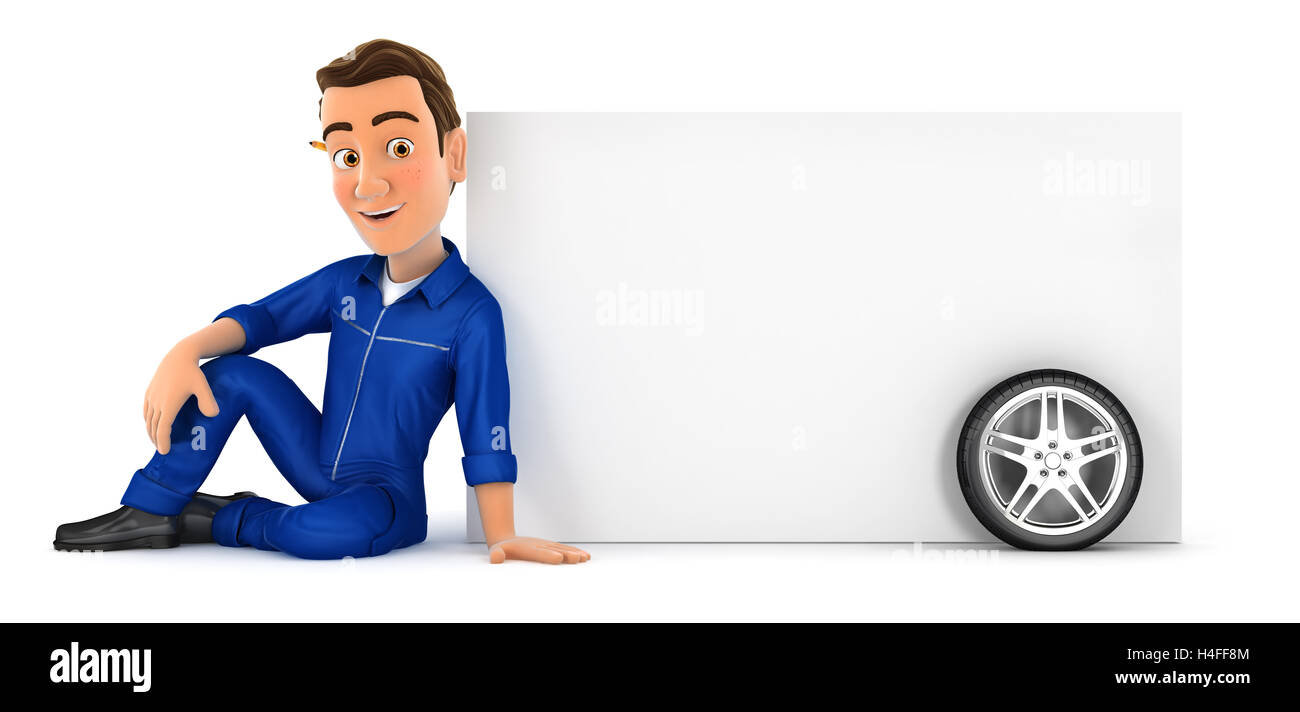 3d mechanic sitting next to blank wall, illustration with isolated white background Stock Photo