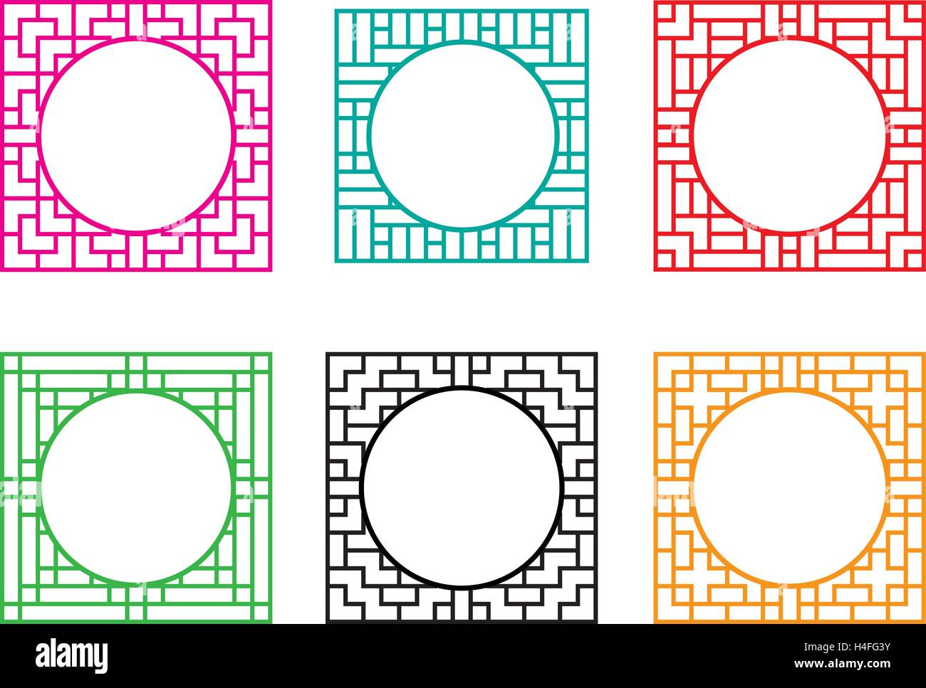 Square window frame with circle hole at center, vector Stock Vector ...