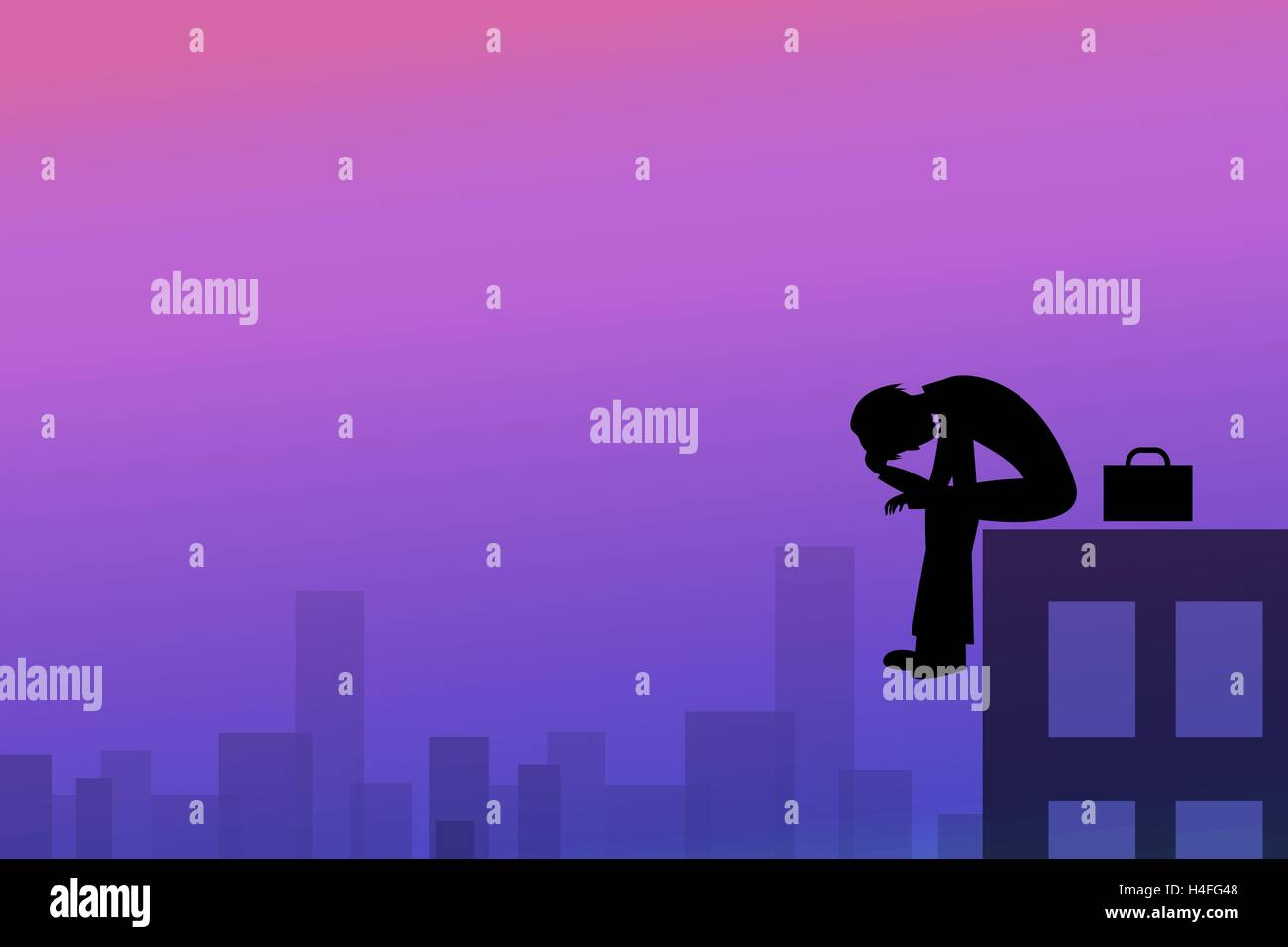 Depression background in silhouette style, vector - Stock Vector