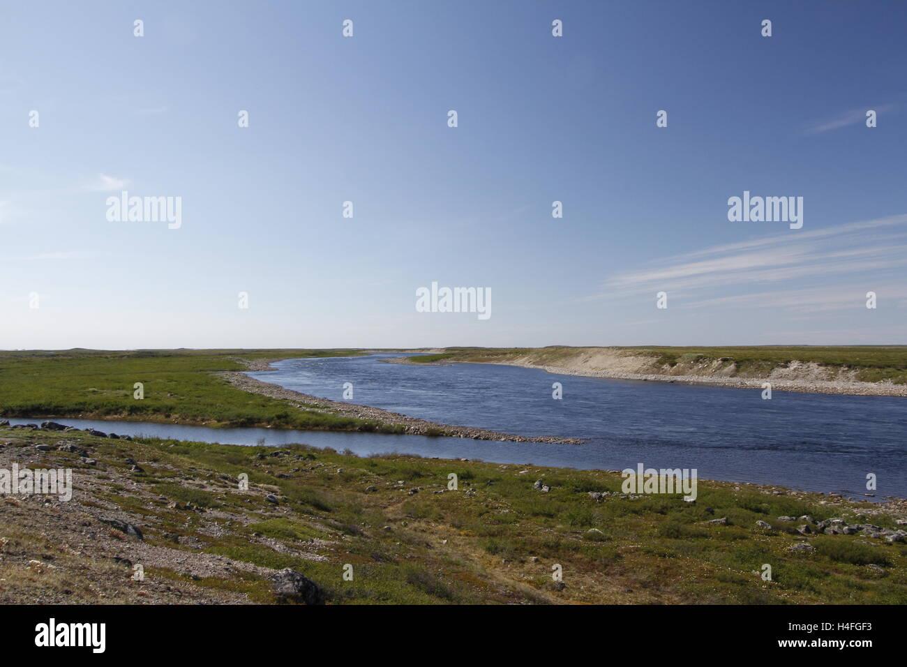 Looking across Maguse River north of Arviat, Nunavut - Stock Image