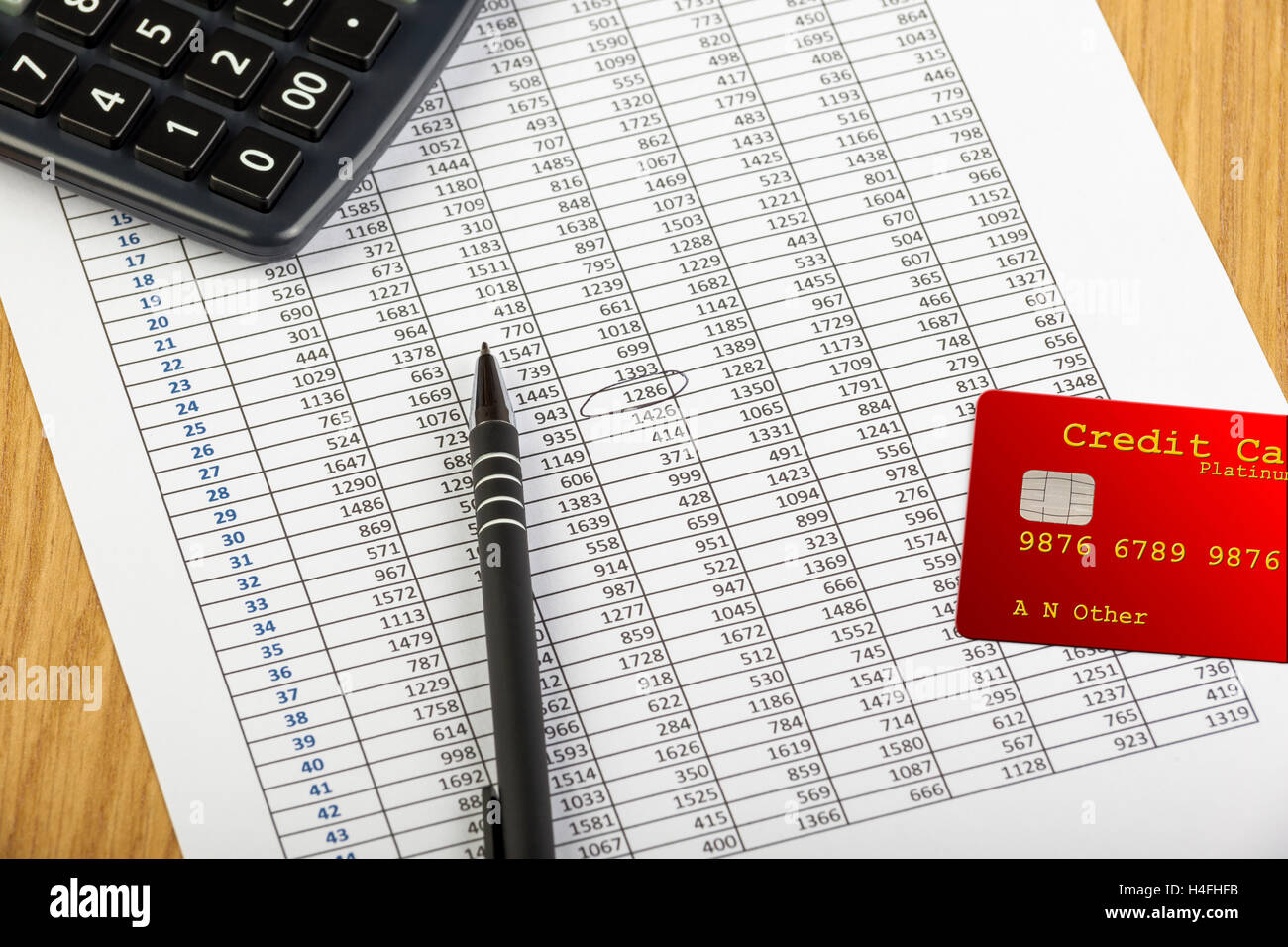 Red credit card laying on a spreadsheet printout with circled entries and the corner of a large button black calculator - Stock Image