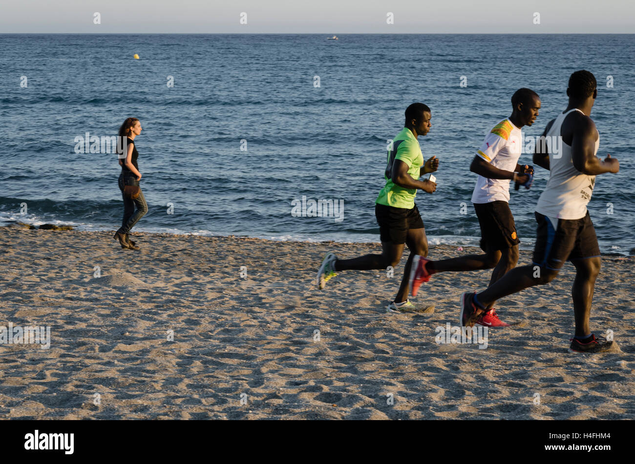 A runners view in a beach of Carboneras, Almería, Spain - Stock Image