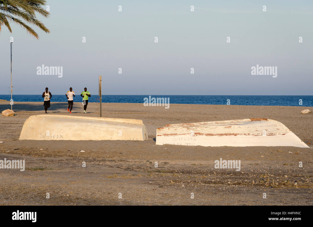 A runners in a beach of Carboneras, Almería, Spain - Stock Image