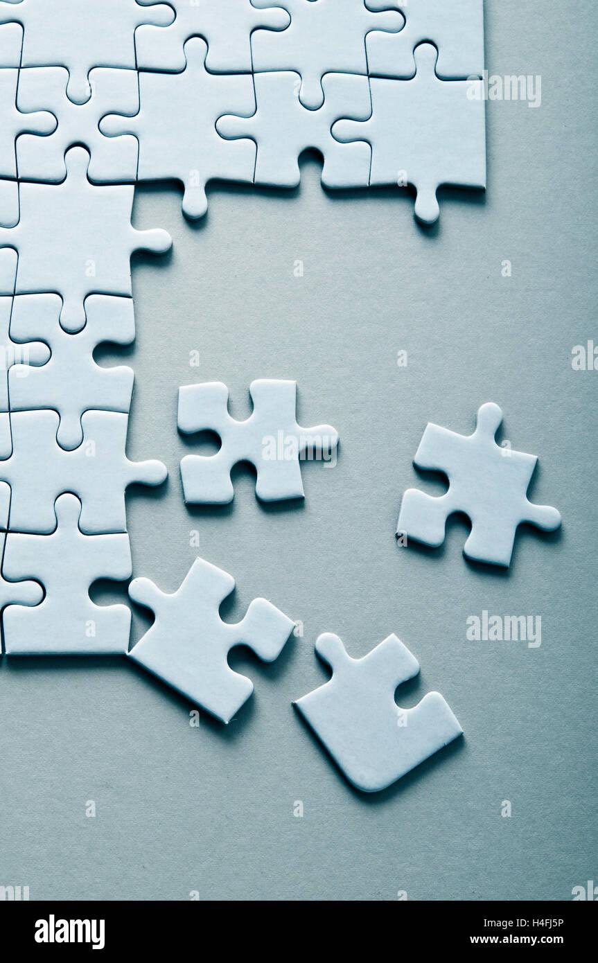 blank jigsaw puzzle - Stock Image