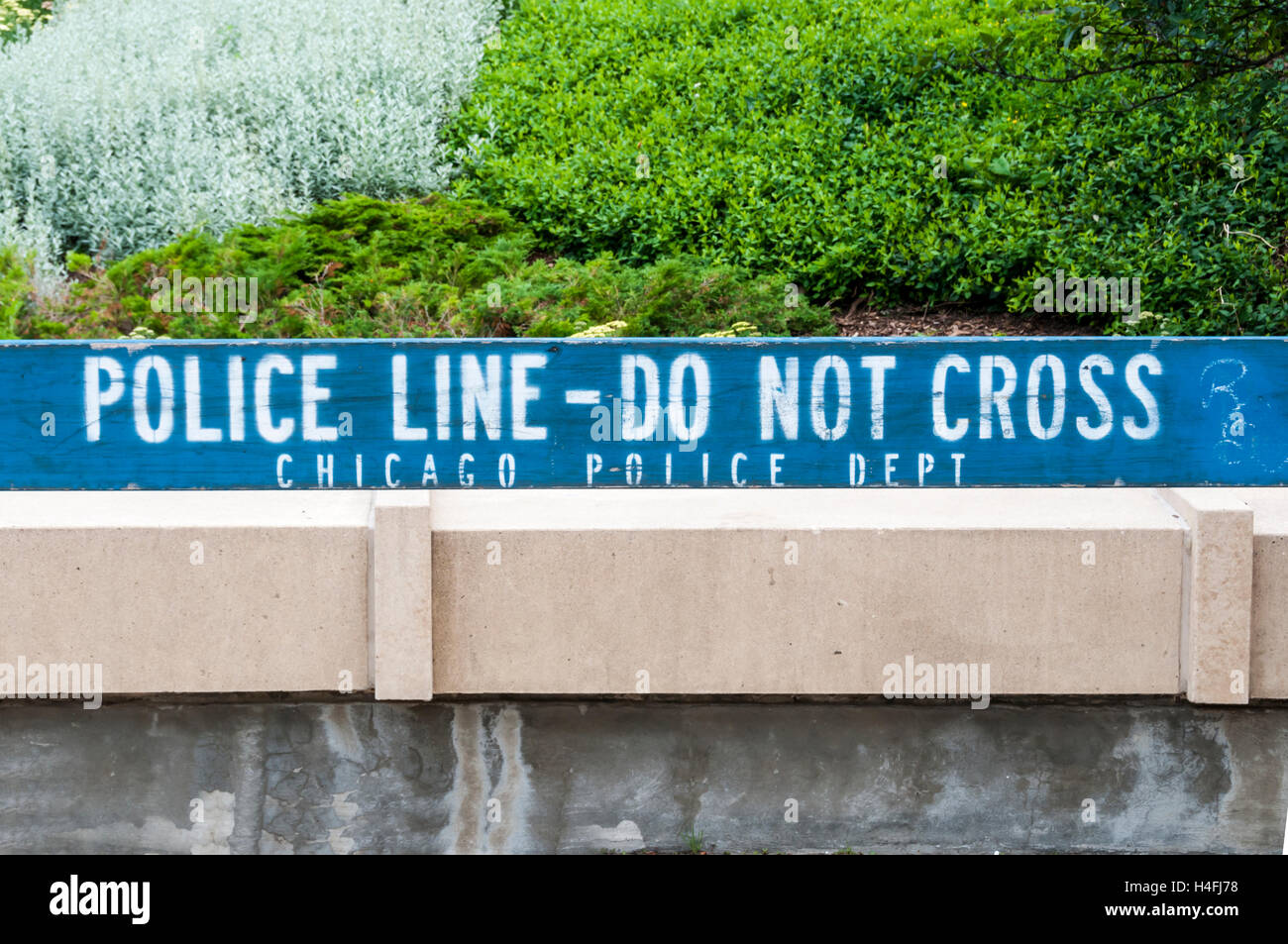 Police barrier with the words Police Line Do No Cross, Chicago Police Dept. - Stock Image