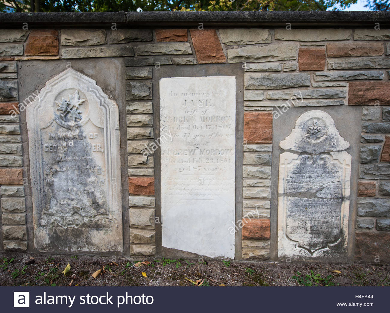 Islington Burying Grounds or Cemetery. Preserving tomb stones of the most important settlers.  This cemetery remains - Stock Image