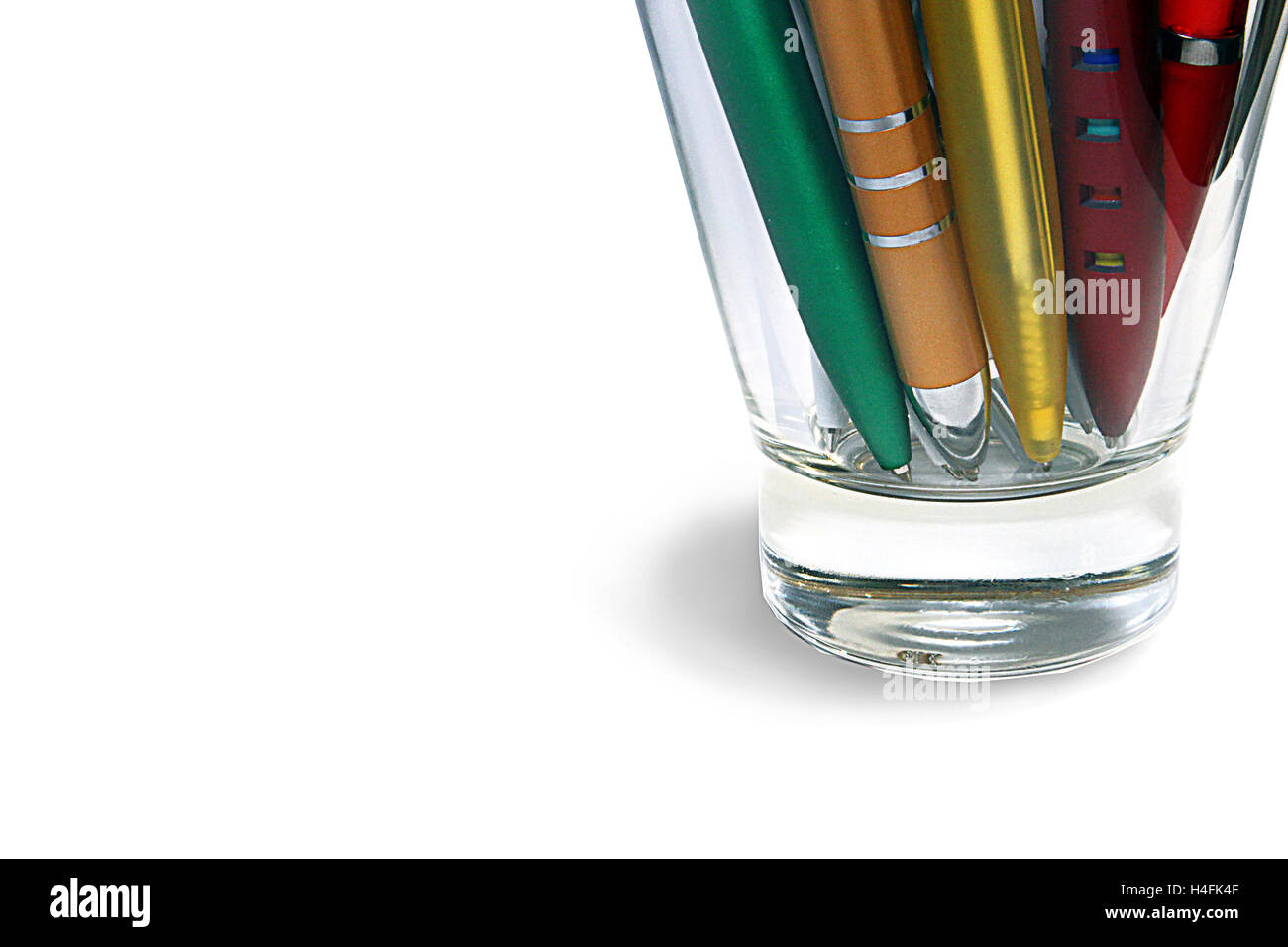 Ballpoint pens set of different types and colours in the