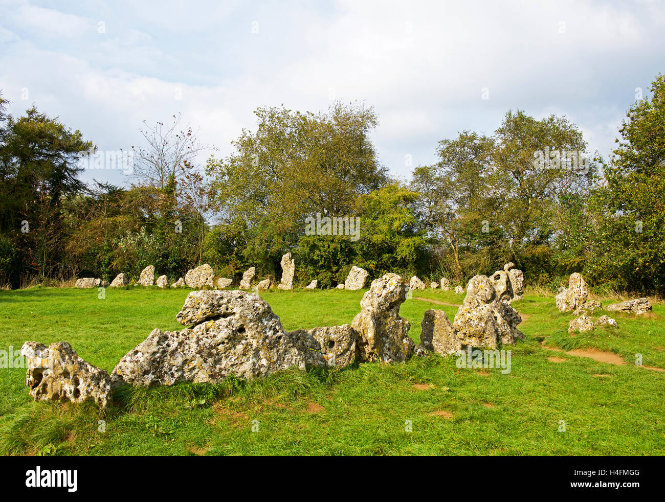 The Rollright Stones, a stone circle near Long Compton, on the border of Oxfordshire and Warwickshire, England UK - Stock Image