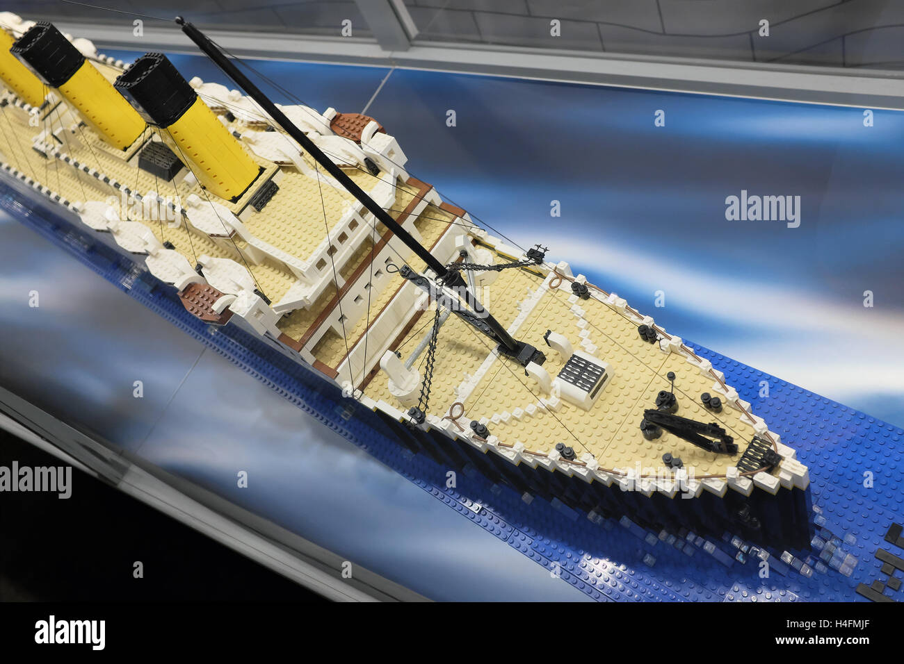Replica kit model of the Titanic ship made from Lego blocks