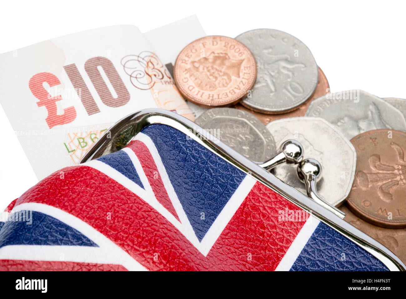 Purse with coins money & £10 pound note spilling out. Union Jack design. - Stock Image