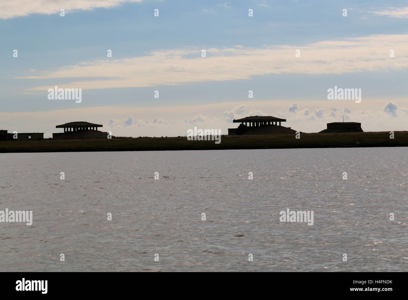 Orford Ness nuclear bomb trigger testing pagodas - Stock Image