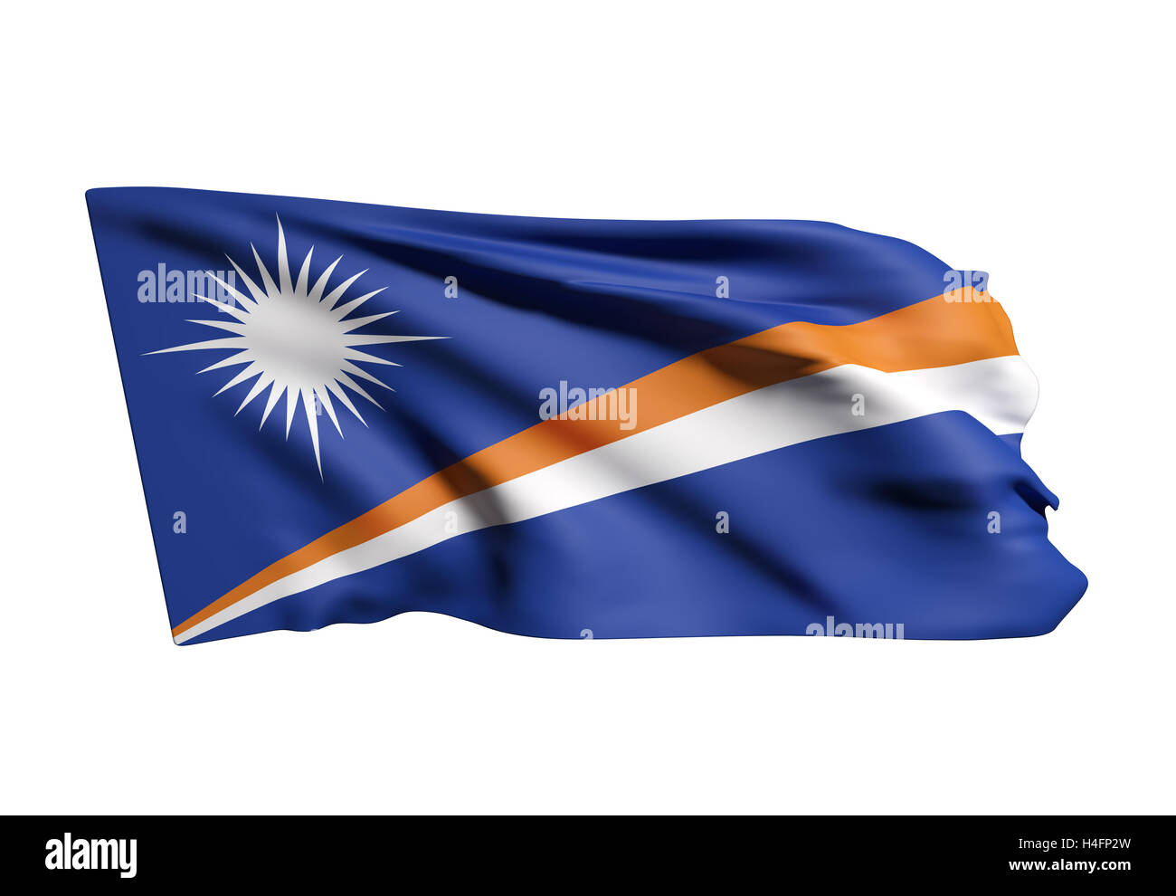 3d rendering of   Republic of the Marshall Islands flag waving on white background - Stock Image