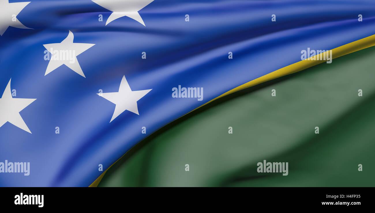 3d rendering of Solomon Islands flag waving - Stock Image