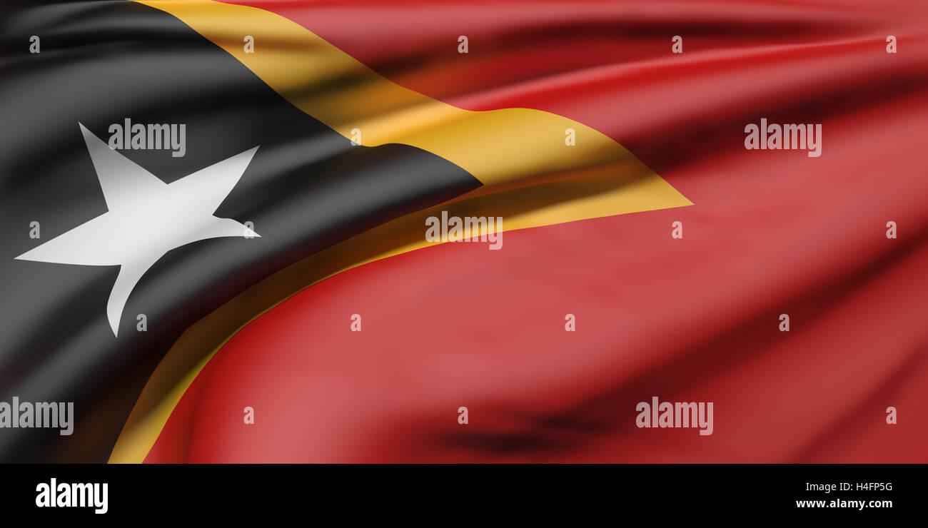 3d rendering of Democratic Republic of Timor-Leste flag waving Stock Photo