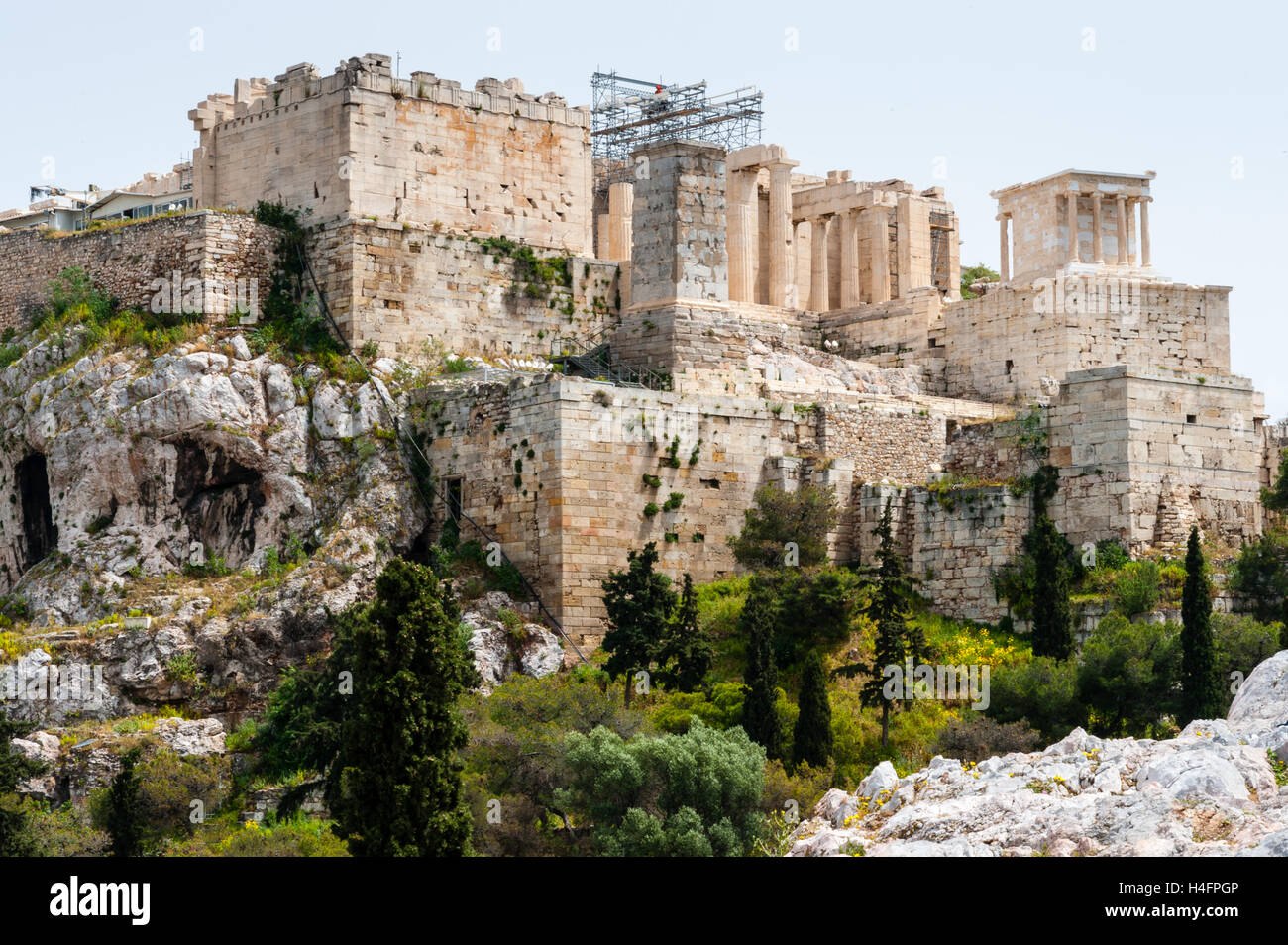 Athens, Greece. View of Acropolis from Areopagus with the Propylaea. Stock Photo