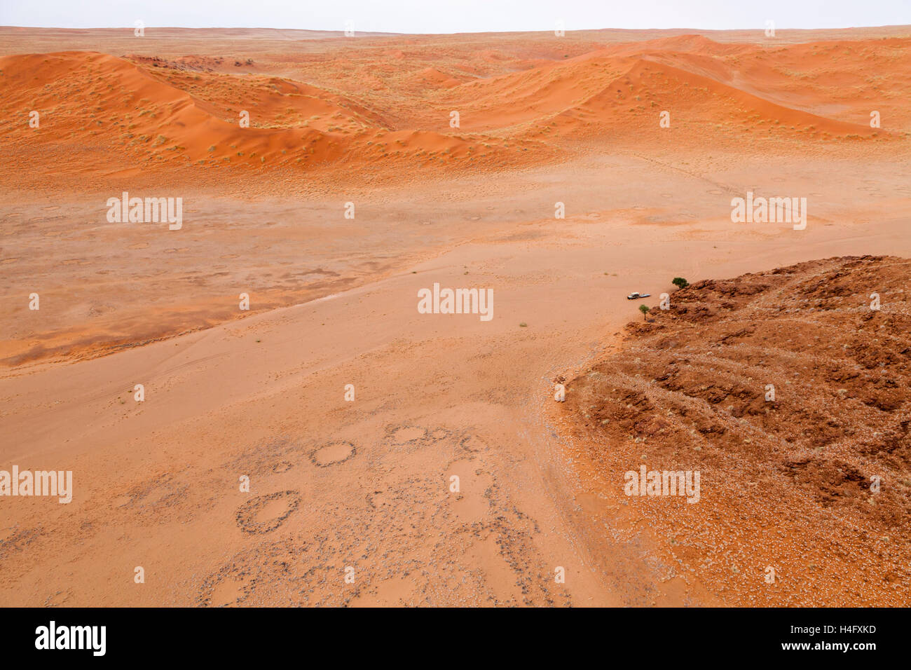 Aerial view from hot air balloon in Namib-Naukluft National Park, Namibia - Stock Image