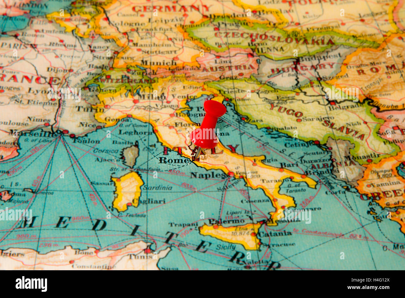 Italy On Map Of Europe.Rome Italy Pinned On Vintage Map Of Europe Stock Photo