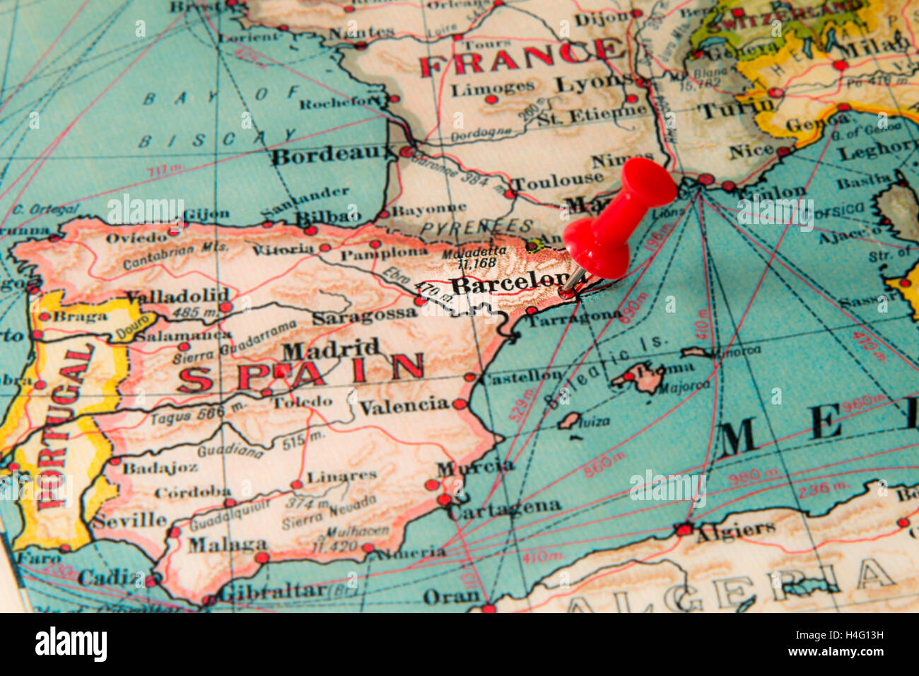 Barcelona Spain Pinned On Vintage Map Of Europe Stock Photo Alamy