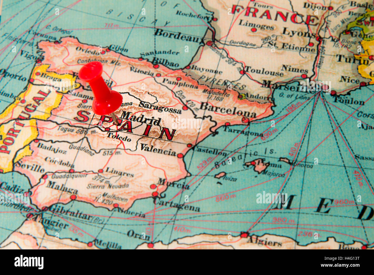 Map Of Spain With Madrid.Pin Map Madrid Spain Stock Photos Pin Map Madrid Spain Stock
