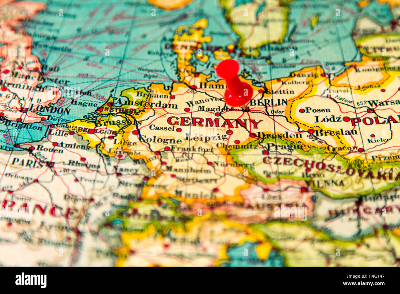 Berlin Germany Pinned On Vintage Map Of Europe Stock Photo