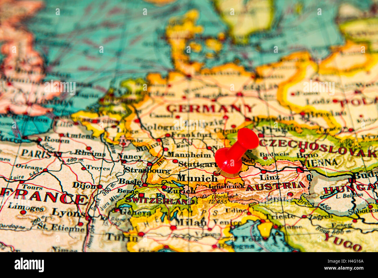 Munich on map stock photos munich on map stock images alamy munich germany pinned on vintage map of europe stock image gumiabroncs Choice Image
