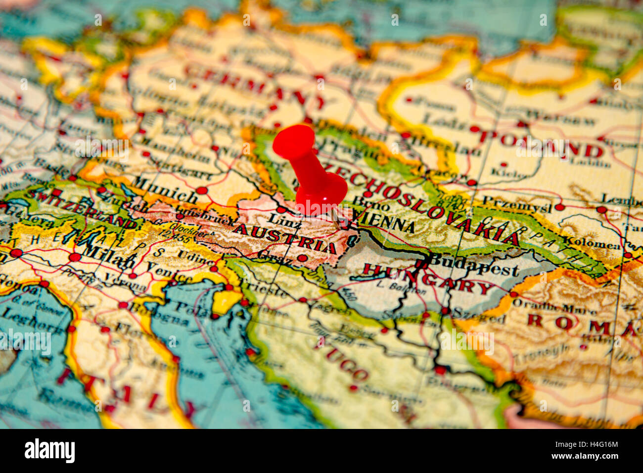 Vienna, Austria Pinned On Vintage Map Of Europe   Stock Image
