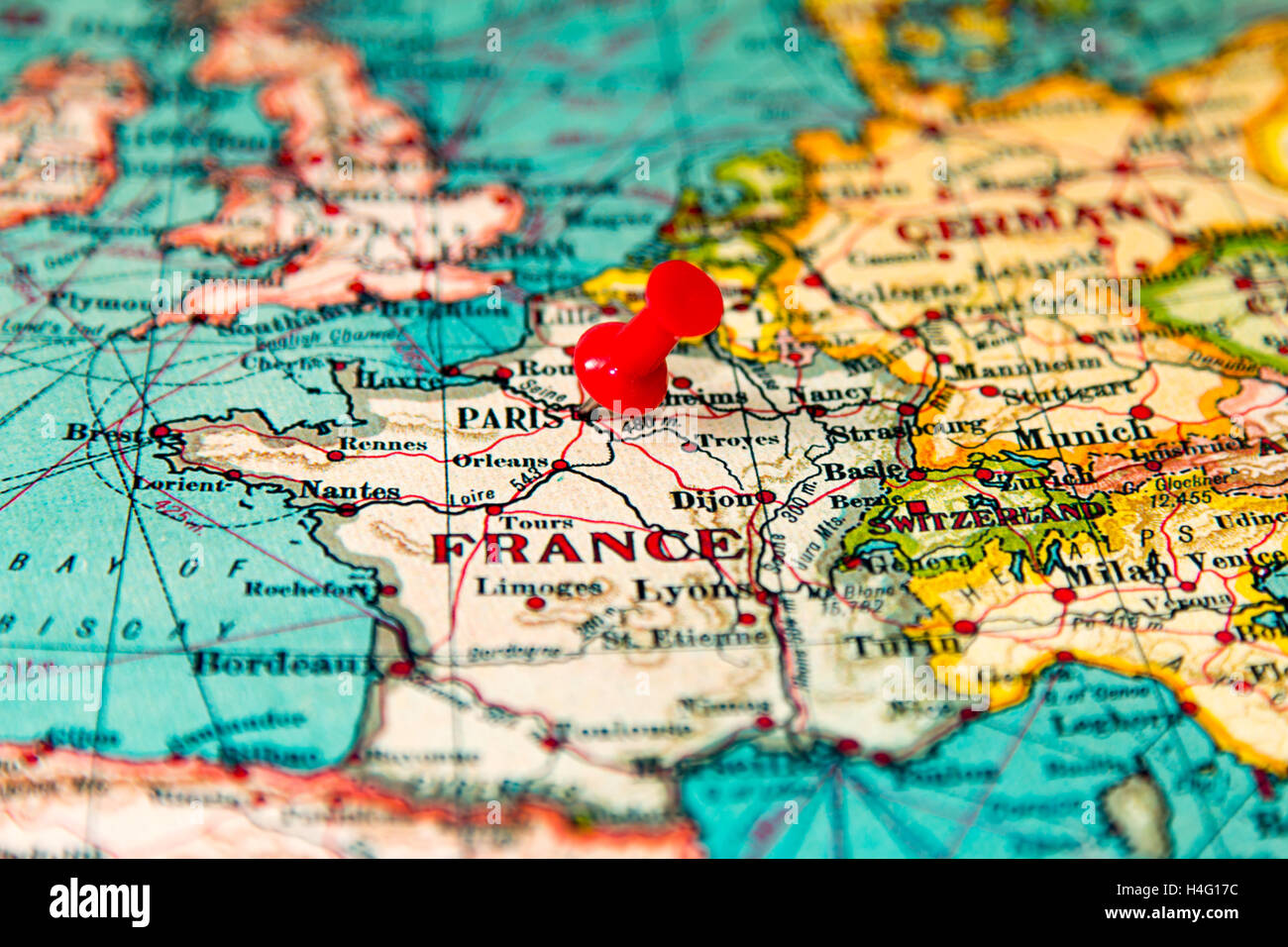 Paris Europe Map.Paris France Pinned On Vintage Map Of Europe Stock Photo 123283424
