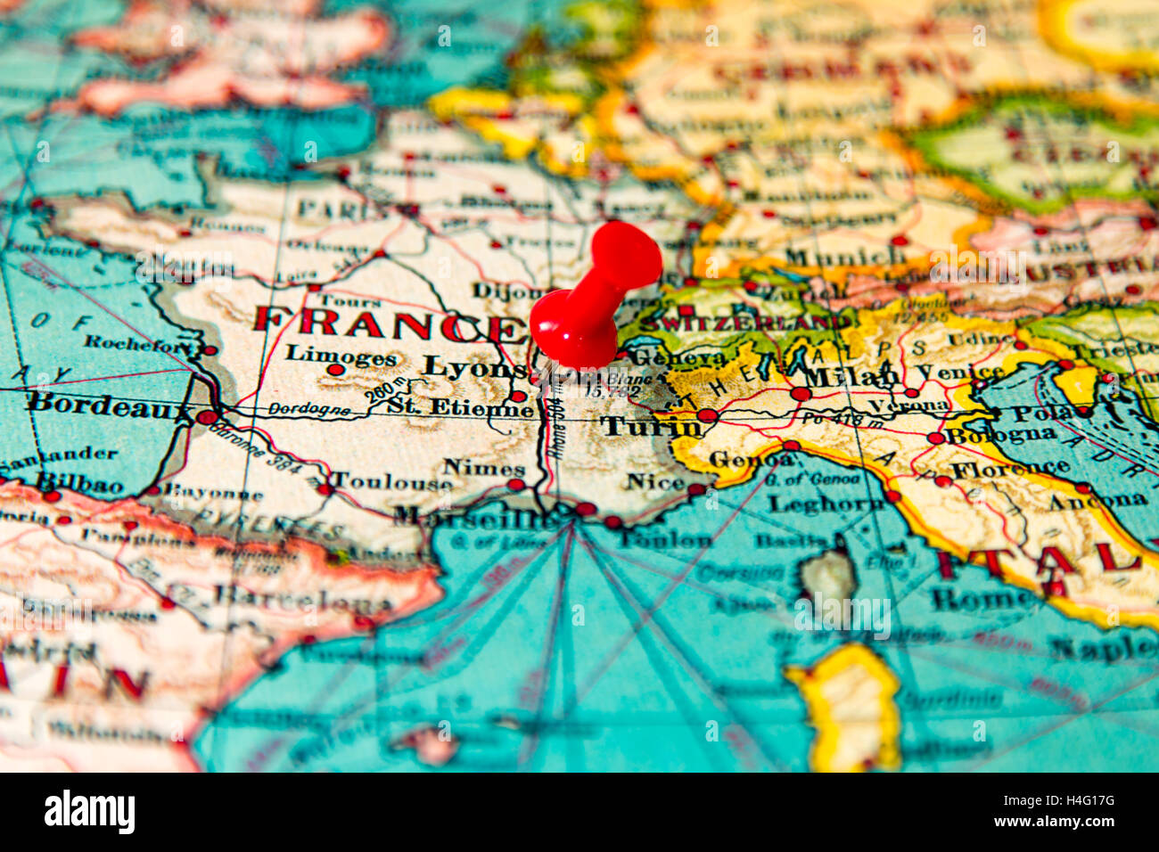 Lyons, France pinned on vintage map of Europe Stock Photo ... on