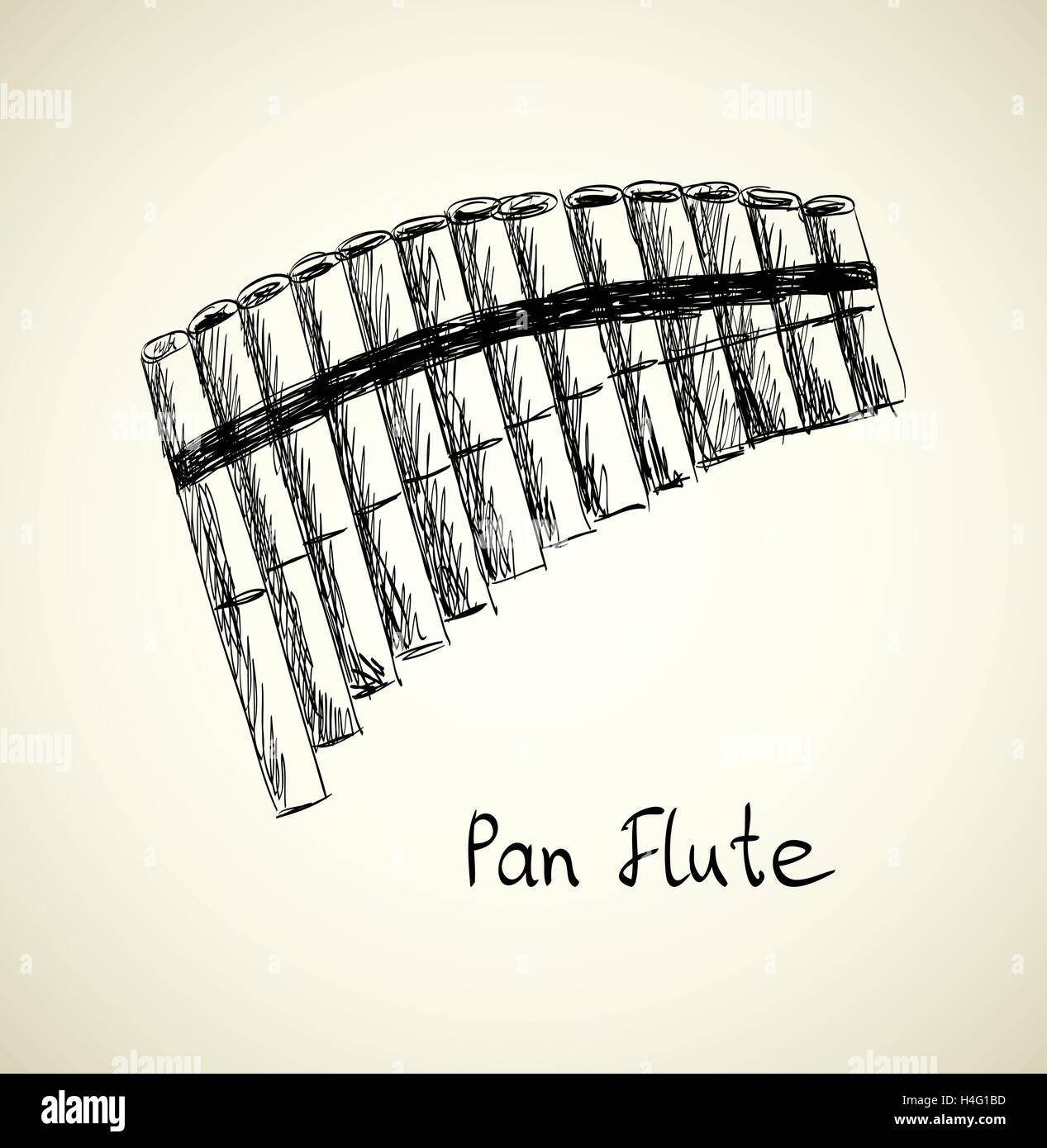 Vector Sketch Panpipe - Stock Image