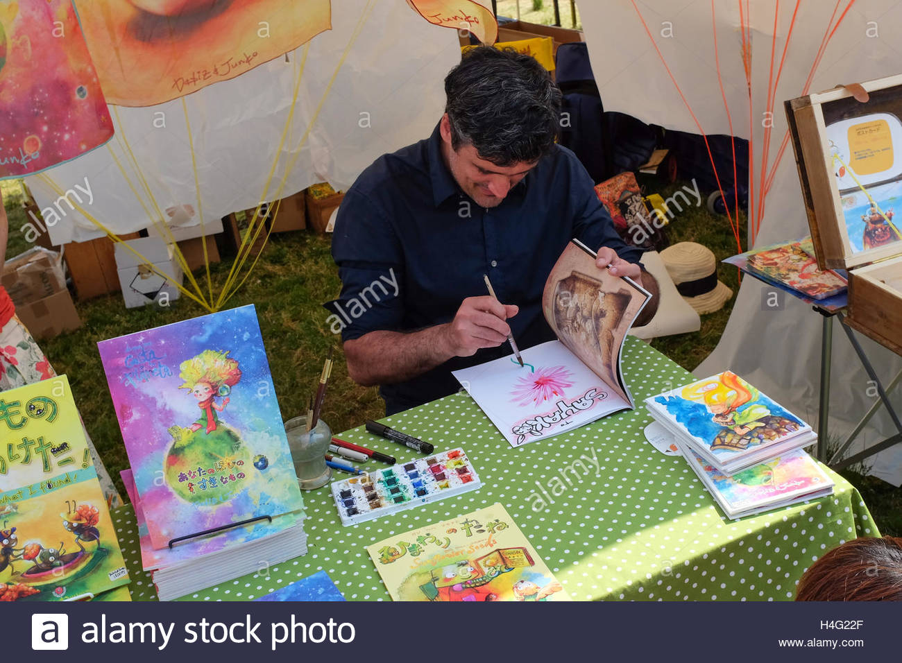Artist and picture-book creator David Molinero of Dabiz & Junko Books. - Stock Image
