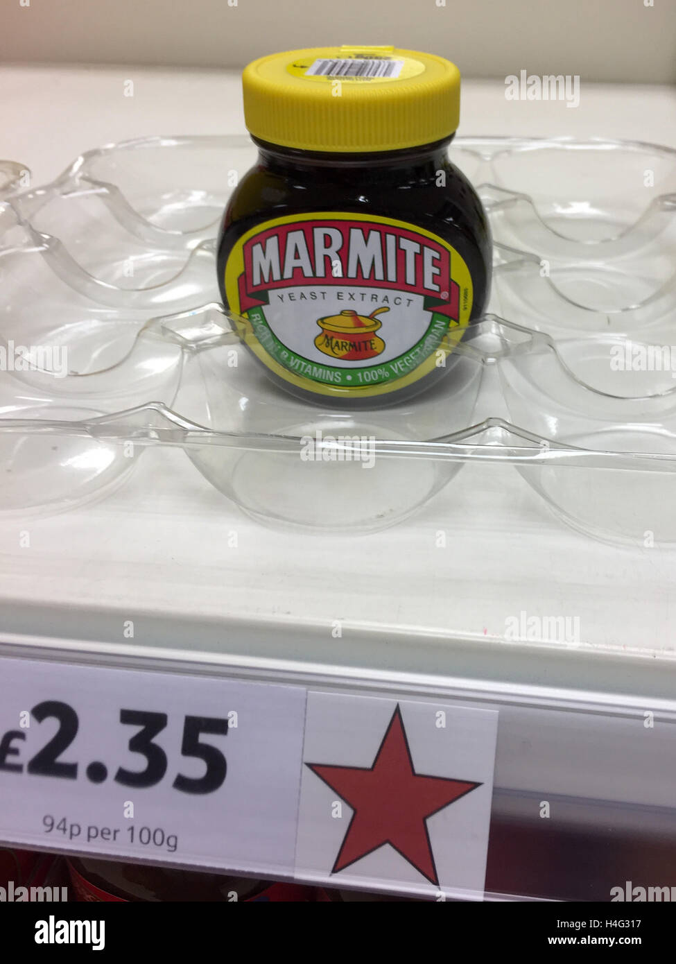 The  last jar of Marmite on sale at Tesco in Cambridge after a dispute with Unilever. Stock Photo