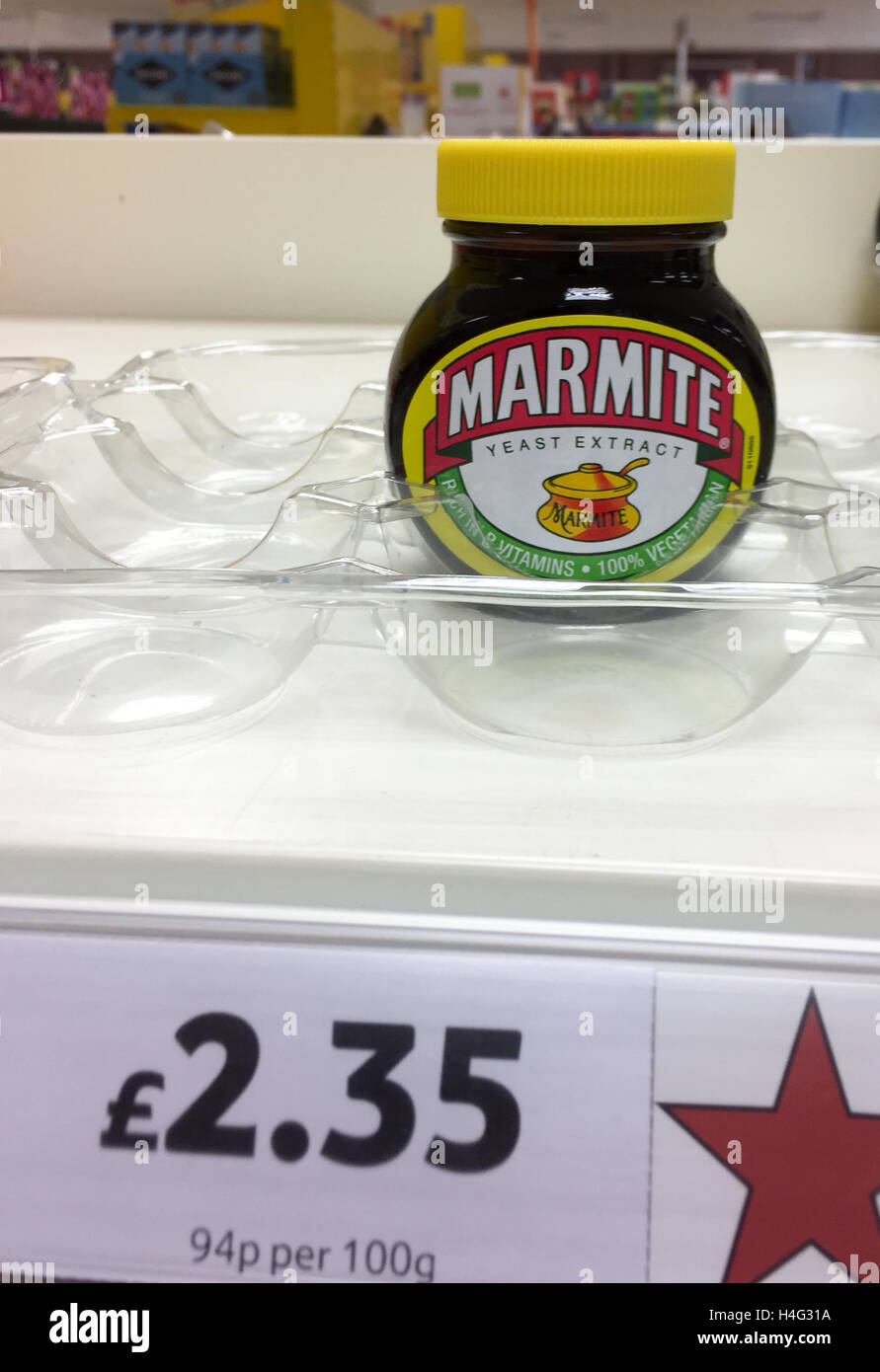 The  last jar of Marmite on sale at Tesco in Cambridge after a dispute with Unilever. - Stock Image