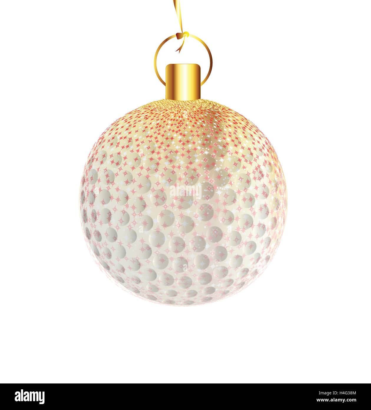 A gold and spakly Christmas tree golfball decoration - Stock Image