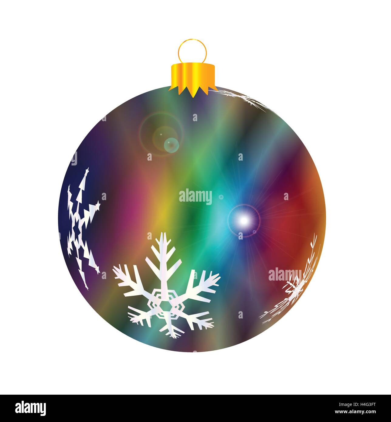 A glossy jazz multi colored Christmas decoration with snowflake patterns isolated on a white background. - Stock Vector