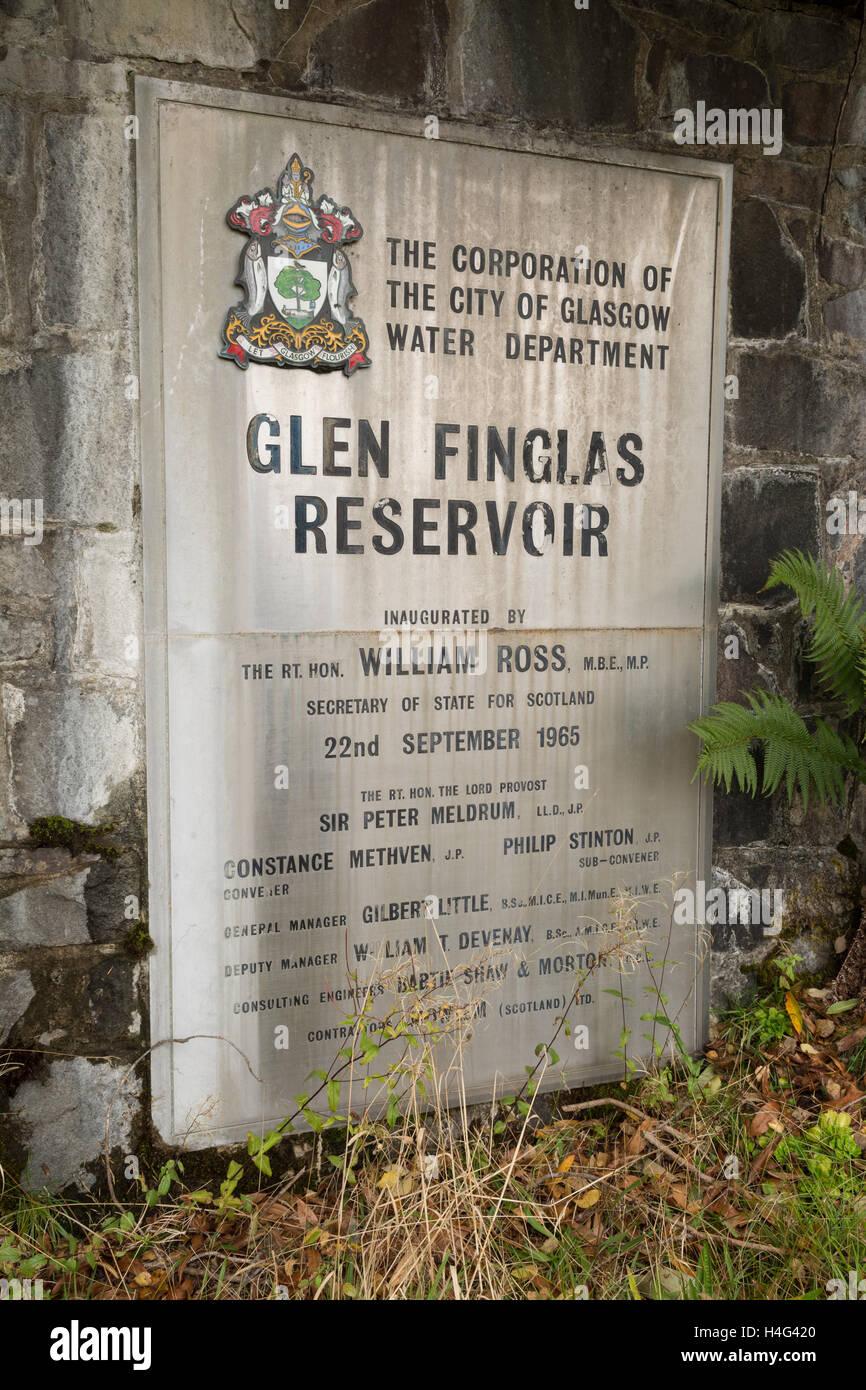 Sign at Glen Finglas Reservoir, Glen Finglas, Trossachs - Stock Image