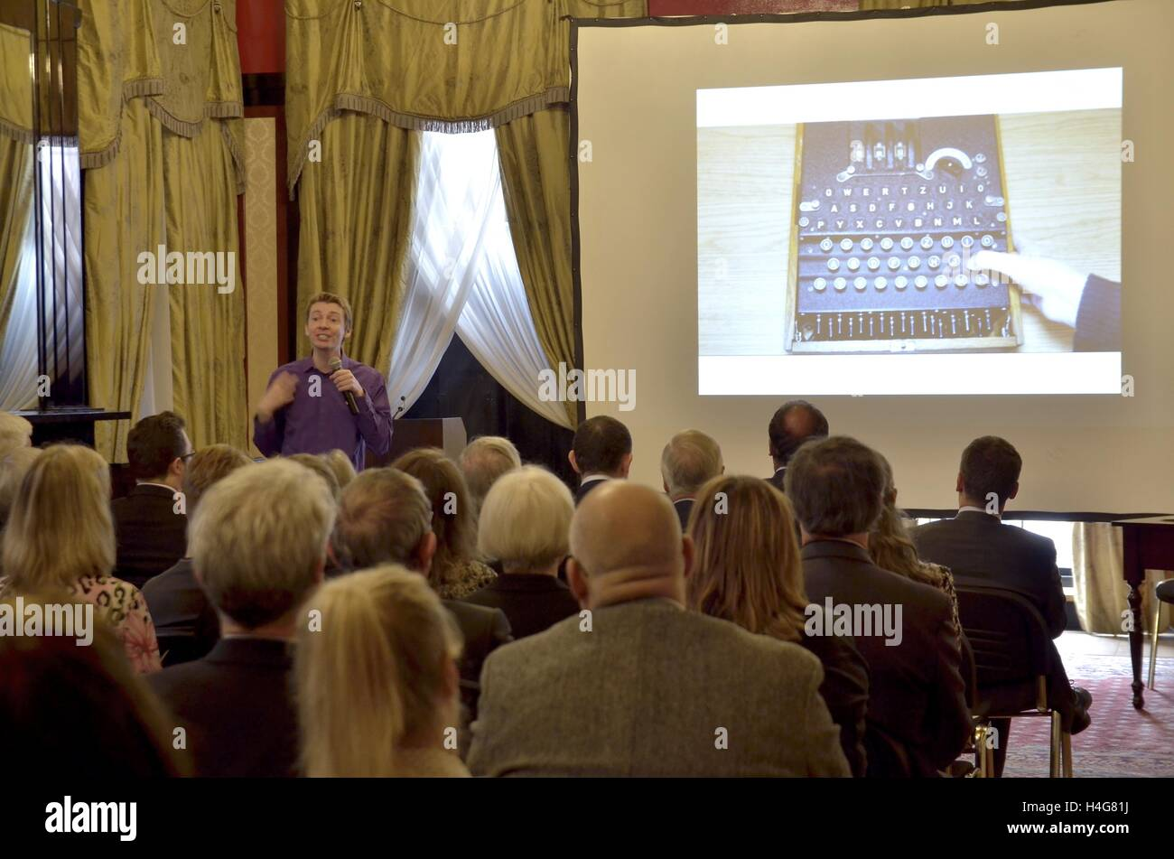 """London, UK. 15th Oct, 2016. """"Relay Enigma"""" Conference in The Polish Embassy in London held a conference devoted Stock Photo"""